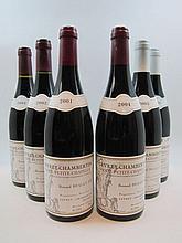 8 bouteilles 1 bt : GEVREY CHAMBERTIN 2001 1er Cru Petite Chapelle. Bernard Dugat Py