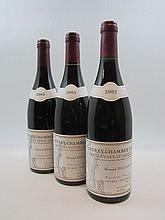 3 bouteilles 1 bt : GEVREY CHAMBERTIN 2002 1er Cru Lavaux Saint Jacques. Bernard Dugat Py