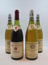 4 bouteilles 3 bts : CORTON CHARLEMAGNE 1988 Grand Cru. Louis Jadot (étiquettes abimées)
