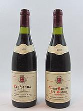 10 bouteilles  6 bts :  ECHEZEAUX 1988 Grand Cru. Jacques Cacheux & Fils (1 à 4 cm) 4 bts :  VOSNE ROMANEE  1988 1er cru Suchots...