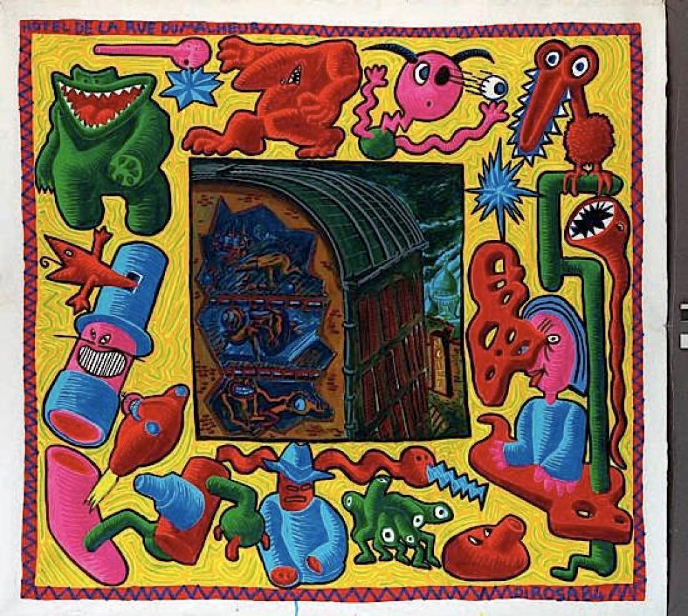 ¤Hervé DI ROSA (né en 1959) L'HOTEL DE LA RUE DU MALHEUR, 1984 Acrylique sur toile