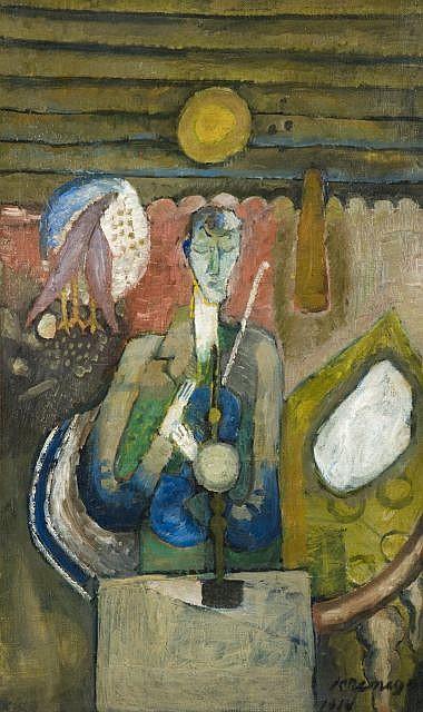 Pinchus KREMEGNE (Zaloudock, Biélorussie, 1890 - Céret, 1981) LE VIOLON BLEU, 1914 Huile sur toile