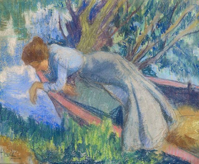 Jean Misceslas PESKE (Golta, Russie, 1870 - 1949) JEUNE ELEGANTE Pastel sur carton