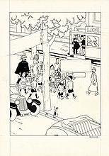 STUDIOS HERGÉ  1907 – 1983 QUICK ET FLUPKE Encre de Chine, crayon et gouache blanche pour une illustration représentant...