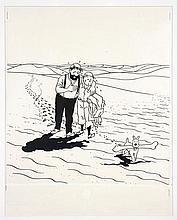 Georges Remi dit HERGÉ  LE CRABE AUX PINCES D'OR Encre de Chine et gouache pour un projet publicitaire, inspiré par le sec...