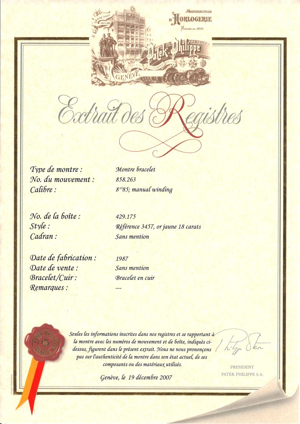 La Boite Jaune Prix o - patek philippe ref. 3457, n° 858263 / 429175