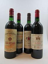 4 bouteilles 1 bt : CHÂTEAU GRAND CORBIN DESPAGNE 1985 GCC Saint Emilion (base goulot, étiquette sale)