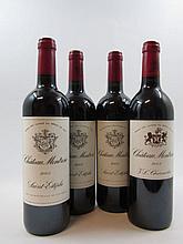 4 bouteilles  1 bt : CHÂTEAU MONTROSE 2002 2è GC Saint Estèphe 1 bt : CHÂTEAU MONTROSE 2005 2è GC Saint Estèphe 2 bts : CHÂTEAU...