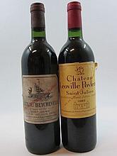 6 bouteilles 2 bts : CHÂTEAU LEOVILLE POYFERRE 1983 2è GC Saint Julien (étiquettes abimées)