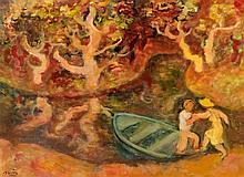 Maurice SAVIN 1894 - 1973 PERSONNAGES A LA BARQUE - 1965 Huile sur toile