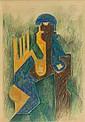 Natalia GONTCHAROVA (Nagaïevo, 1881 - Paris, 1962) PERSONNAGE, 1912 Dessin au crayon de couleur et au crayon noir sur papier