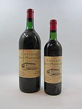 2 flacons 1 bt : CHÂTEAU HAUT MARBUZET 1975 CB Saint Estèphe (base goulot, étiquette fanée)