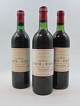 3 bouteilles 1 bt : CHÂTEAU LYNCH BAGES 1978 5è GC Pauillac (base goulot, étiquette fanée)