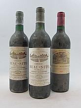 12 bouteilles 3 bts : CHÂTEAU BEAUSITE 1983 Saint Estèphe (base goulot, étiquettes fanées)