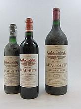 8 flacons 4 bts : CHÂTEAU BEAUSITE 1980 Saint Estèphe (capsules et étiquettes fanées)