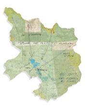 Peter FEND (Né en 1950) OU SONT LES OISEAUX AU TCHAD - 1991 Feutre sur carte géographique découpée et collée sur carton-plume