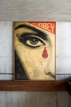 ¤ Shepard FAIREY (Alias OBEY GIANT) Américain - Né en 1970 Eye Alert (cream) - 2010 Pochoir, peinture aérosol et collages sur toile