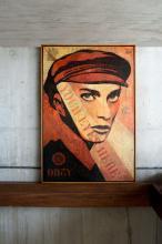 ¤ Shepard FAIREY (Alias OBEY GIANT) Américain - Né en 1970 Your Eyes Here - 2010 Pochoir, peinture aérosol et collages sur toile