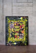 ¤ RAMMELLZEE Américain - 1960 - 2010 Wolf Nite - 1991 Technique mixte et collages sur assemblage de bois