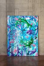 ¤ Kenny SCHARF Américain - Né en 1958 Viva Mar e Viva - 2011 Peinture aérosol et acrylique sur toile