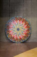 ¤ Ryan McGINNESS Américain - Né en 1972 Untitled (Black hole, Pearl white) - 2008 Acrylique sur toile tendue sur panneau de bois