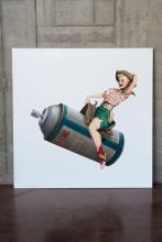¤ BANKSY Anglais - Né en 1975 Rodeo Girl - 2009 Huile et crayon sur toile