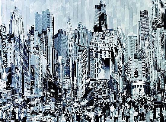 Serge MENDJISKY (né en 1929) NEW YORK Monotype marouflé sur toile