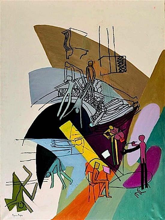 Suzanne ROGER (1899 - 1986) LES MARCHES DU PONT ET LA GRANDE LUMIERE JAUNE, 1970 Huile sur toile