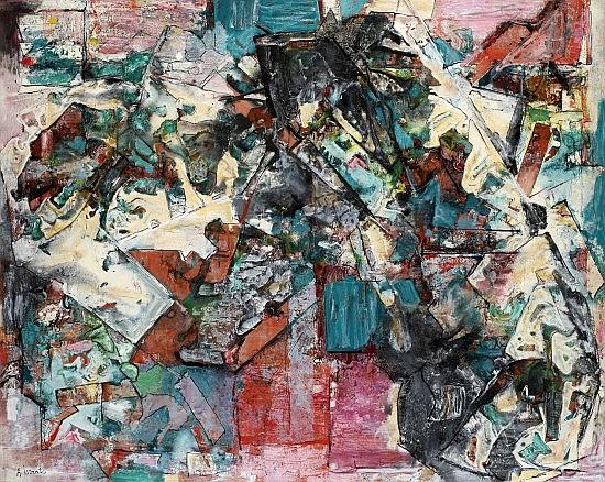 Alexandre ISTRATI (1915-1991) COMPOSITION VERT, 1965 Huile sur toile