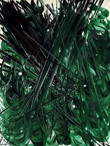 René DUVILLIER (né en 1919) CYCLE VERT N°9, 1961 Huile sur toile