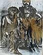 Lydie ARICKX (née en 1954) DEUX PERSONNAGES Fusain et acrylique doré sur papier, Lydie Arickx, Click for value