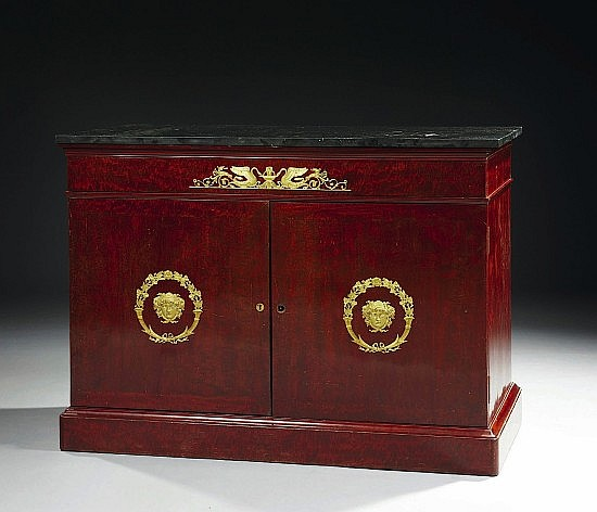 COMMODE SERRE PAPIER D'EPOQUE EMPIRE DANS LE GOUT DE JACOB FRERES