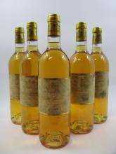 5 bouteilles 2 bts : CHÂTEAU SUDUIRAUT 1995 1er cru Sauternes (étiquettes très tachées)
