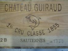 12 bouteilles CHÂTEAU GUIRAUD 1990 1er cru Sauternes Caisse bois d''origine