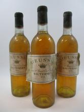3 bouteilles CHÂTEAU RIEUSSEC 1974 1er cru Sauternes (base goulot