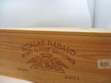 12 bouteilles CHÂTEAU SIGALAS RABAUD 2001 1er cru Sauternes Caisse bois d''origine