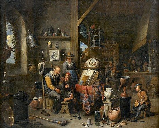 Gérard Thomas Anvers, 1663 - 1720 Le cabinet de l'alchimiste Huile sur toile, rentoilée