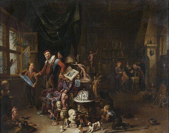 Gerard Thomas Anvers, 1663 - 1720 Le cabinet de curiosité d'un collectionneur Toile