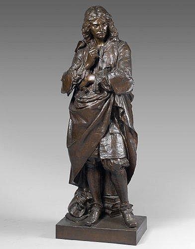 Augustin Moreau-Vauthier Paris, 1831 - 1893 Molière Bronze à patine médaille