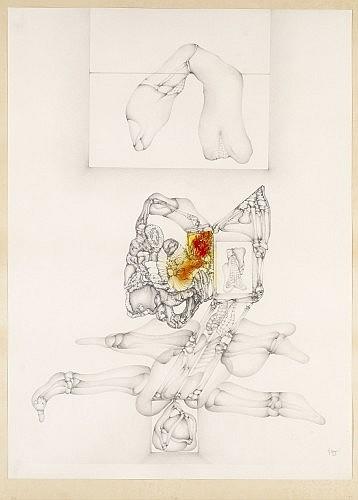 Fred DEUX (né en 1924) VIENS, 1974 Crayon et aquarelle sur papier