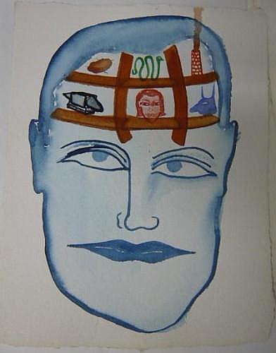 Philippe BERRY (né en 1956) PERSONNAGES, 1991 Un lot de quatre aquarelles sur papier gaufré