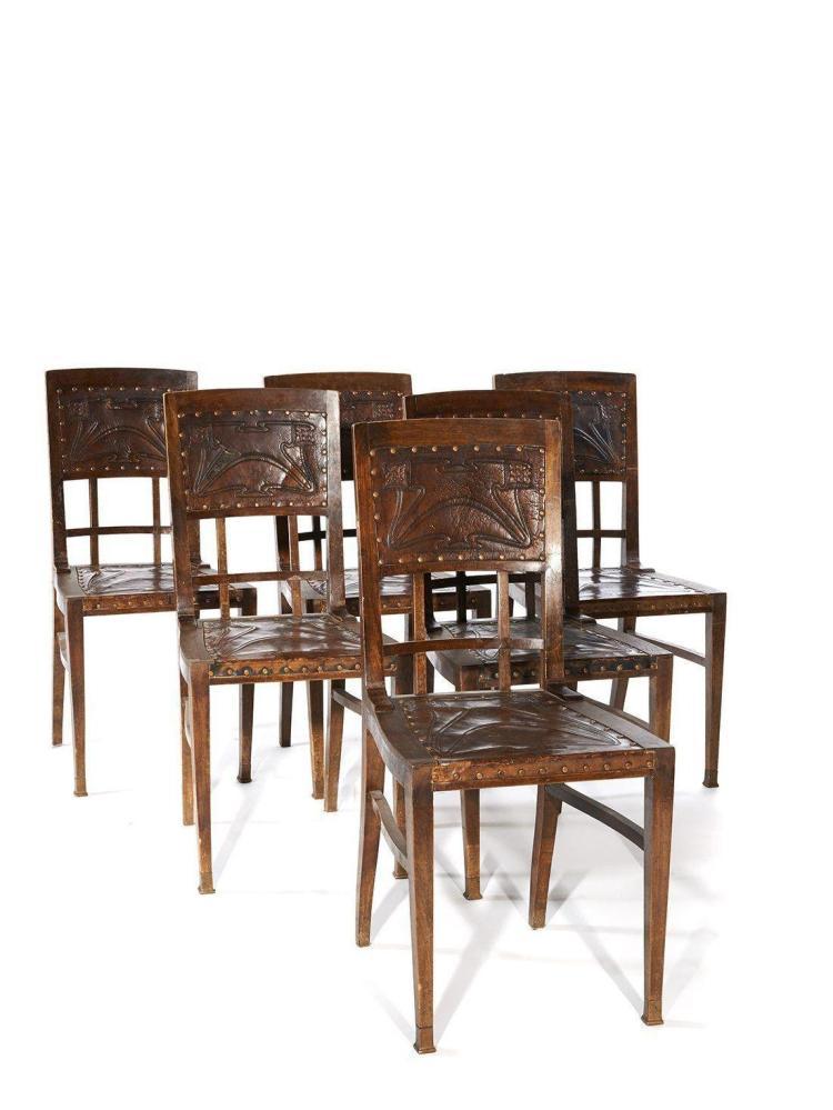 Travail art nouveau belge suite de six chaises for Chaise de travail