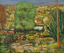 Léon WEISSBERG 1895 - 1943 PAYSAGE AU POTEAU TELEGRAPHIQUE - 1924 Huile sur toile