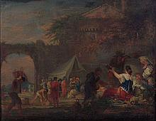 Domenicus van Wijnen, dit Ascanius Amsterdam, 1661 - 1698 Scène animée à l'entrée d'une ville Huile sur toile