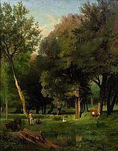 Jean-Achille Bénouville Paris, 1815 - 1891 Pasteurs et leurs troupeaux au bord d'un étang Huile sur toile (Toile d'origine)