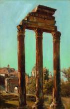François Bonnet Saint Marcellin, 1811 – Fribourg, 1894 Les colonnes du temple des Dioscures sur le forum romain Huile sur papier mar...