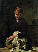 Victor Gilbert Paris, 1847 - 1933 Le déjeuner du chat Huile sur toile (Toile d'origine)