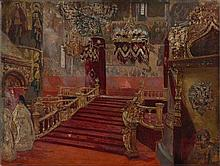 Henri Gervex Paris, 1852 - 1929 Etude pour le Couronnement du tsar Nicolas II - L'Eglise de l'Assomption à Moscou, effets de lumière.