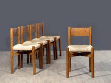 Charlotte PERRIAND (1903-1999) Suite de cinq chaises mod.27 - 1962 Piètement et structure en dibetou massif, assise paillée