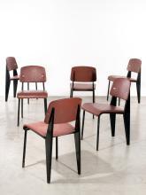 Jean PROUVE (1901 -1984) Suite de six chaises mod. Métropole 306 dites